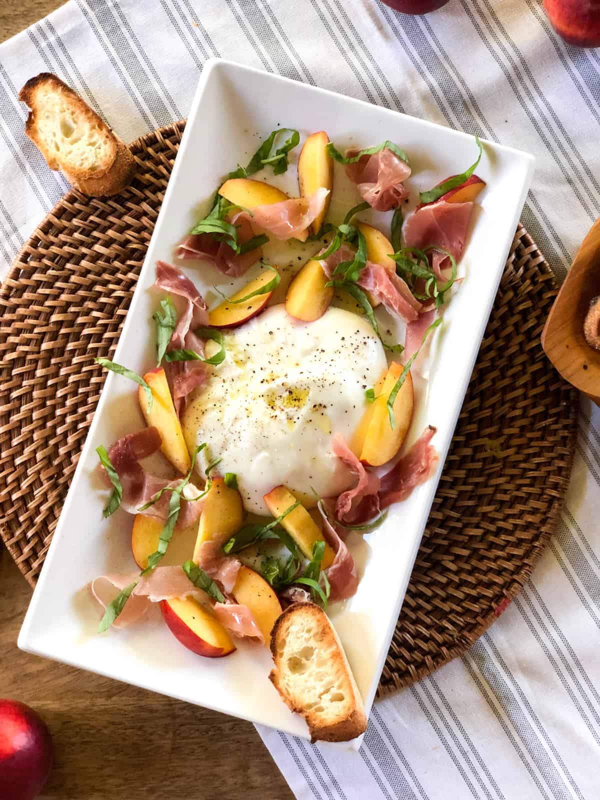 Peach Burrata Crostini