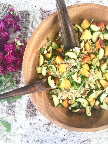Grilled Zucchini Corn and Peach Quinoa Salad