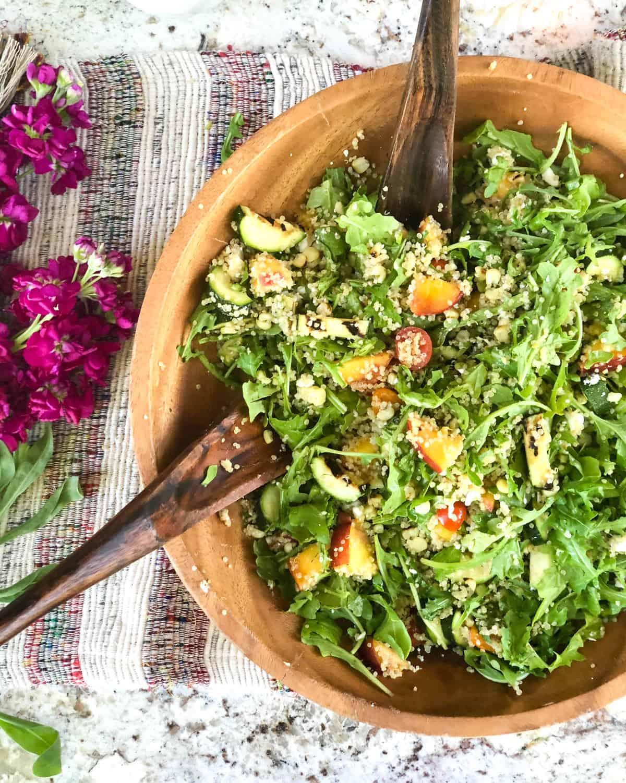 Grilled Zucchini, Corn and Peach Quinoa Salad