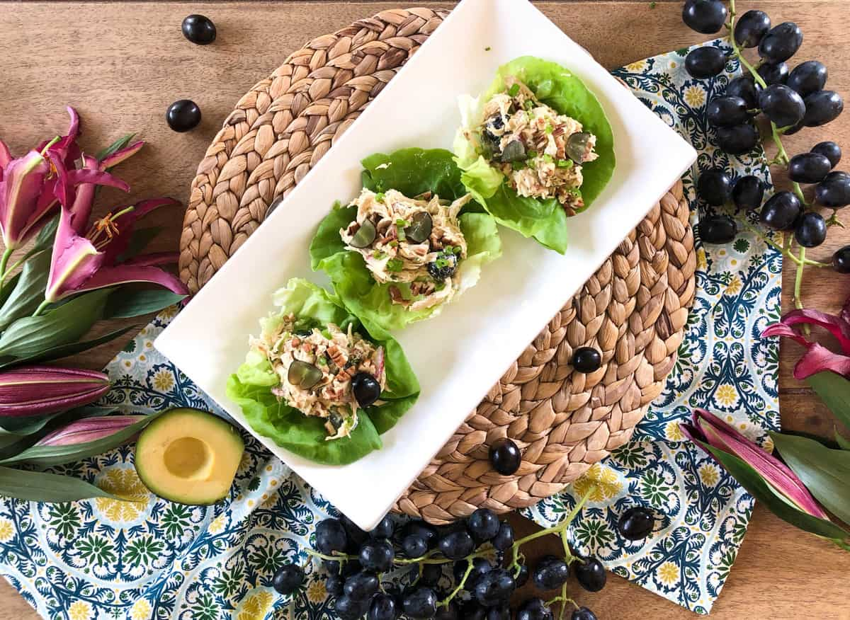 California Chicken Salad with Avocado Grapes, Pecans and Radish in an Avocado Mayo