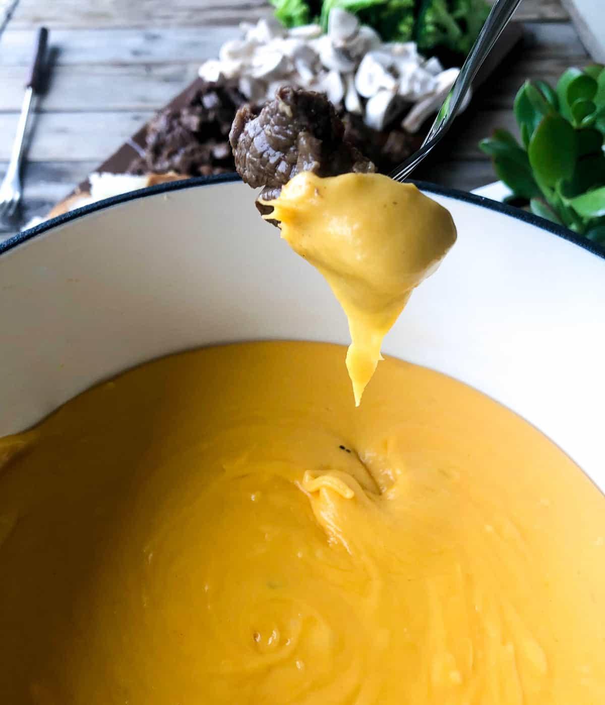 Garlic Cheddar Fondue