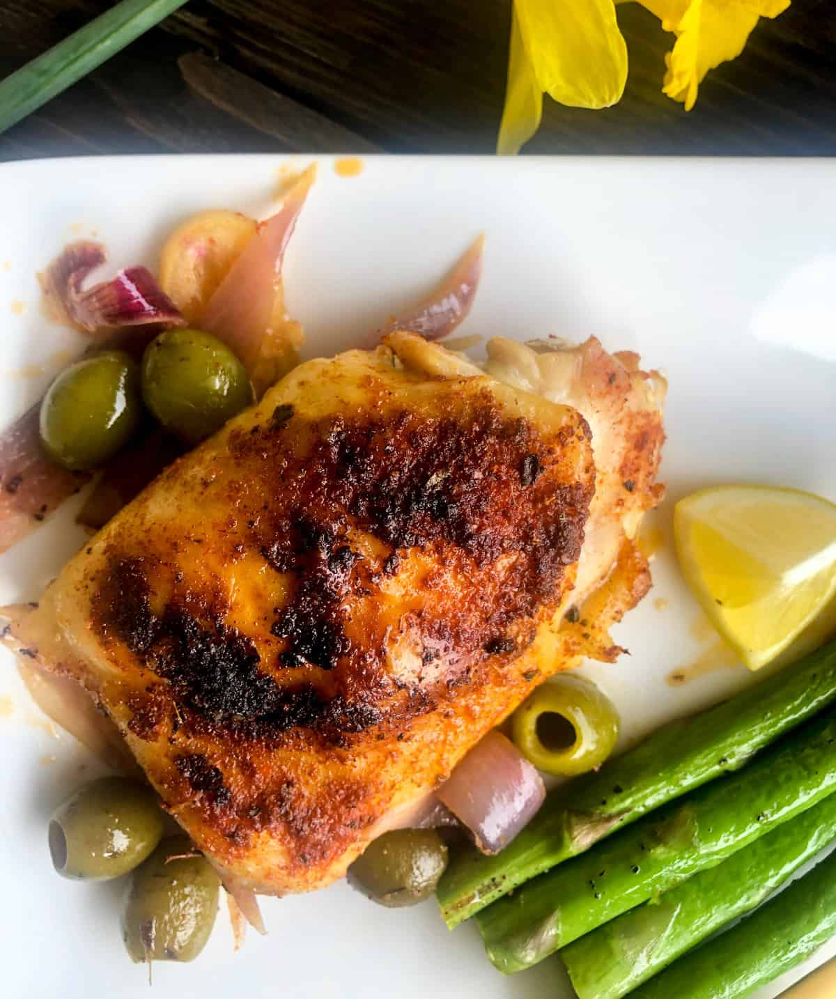 Roast Chicken with Lemons, Paprika, and Olives