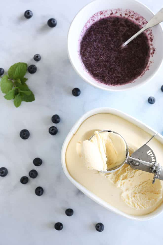 Ice cream and blueberry sauce