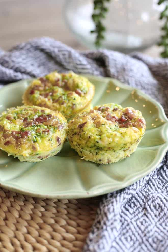 Riced Broccoli, Bacon, and White Cheddar Egg Muffins