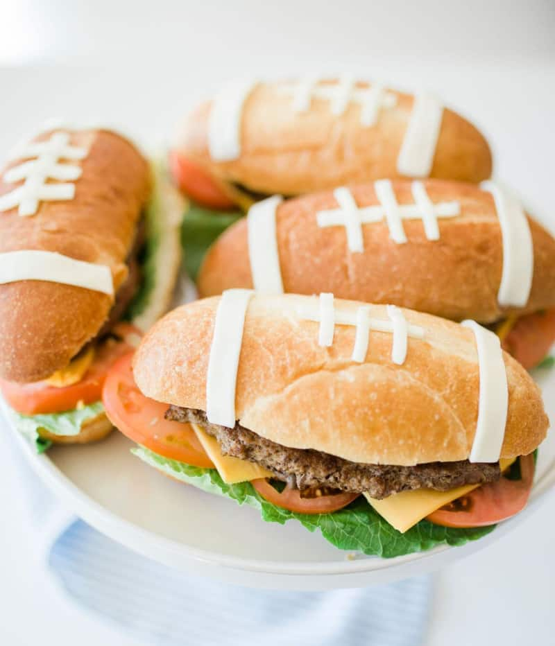 fun food art football burgers