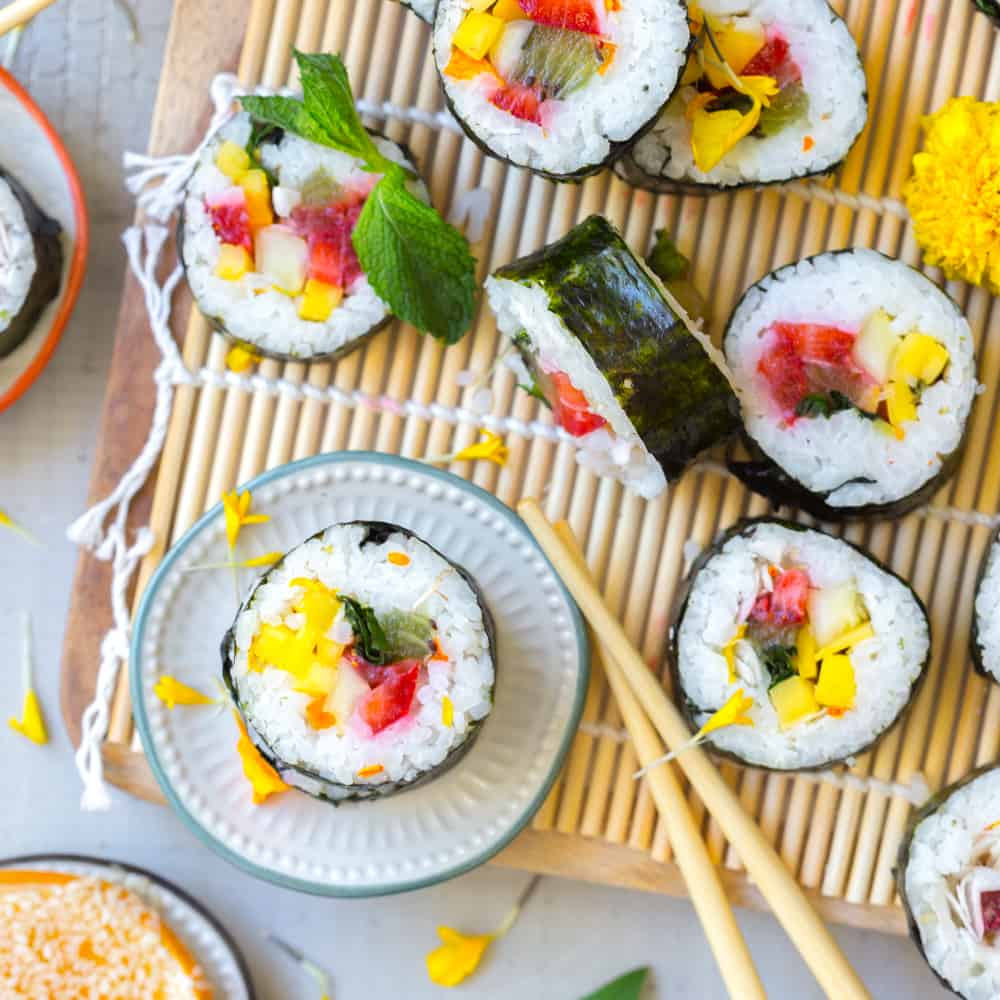 desserts kids can make fruit kimbap
