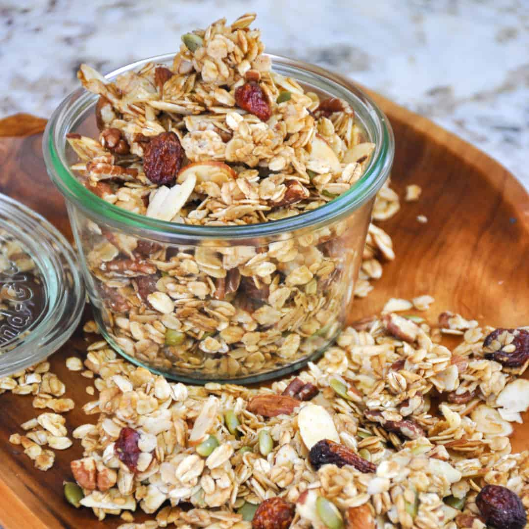 Homemade granola recipe with california grown honey and almonds