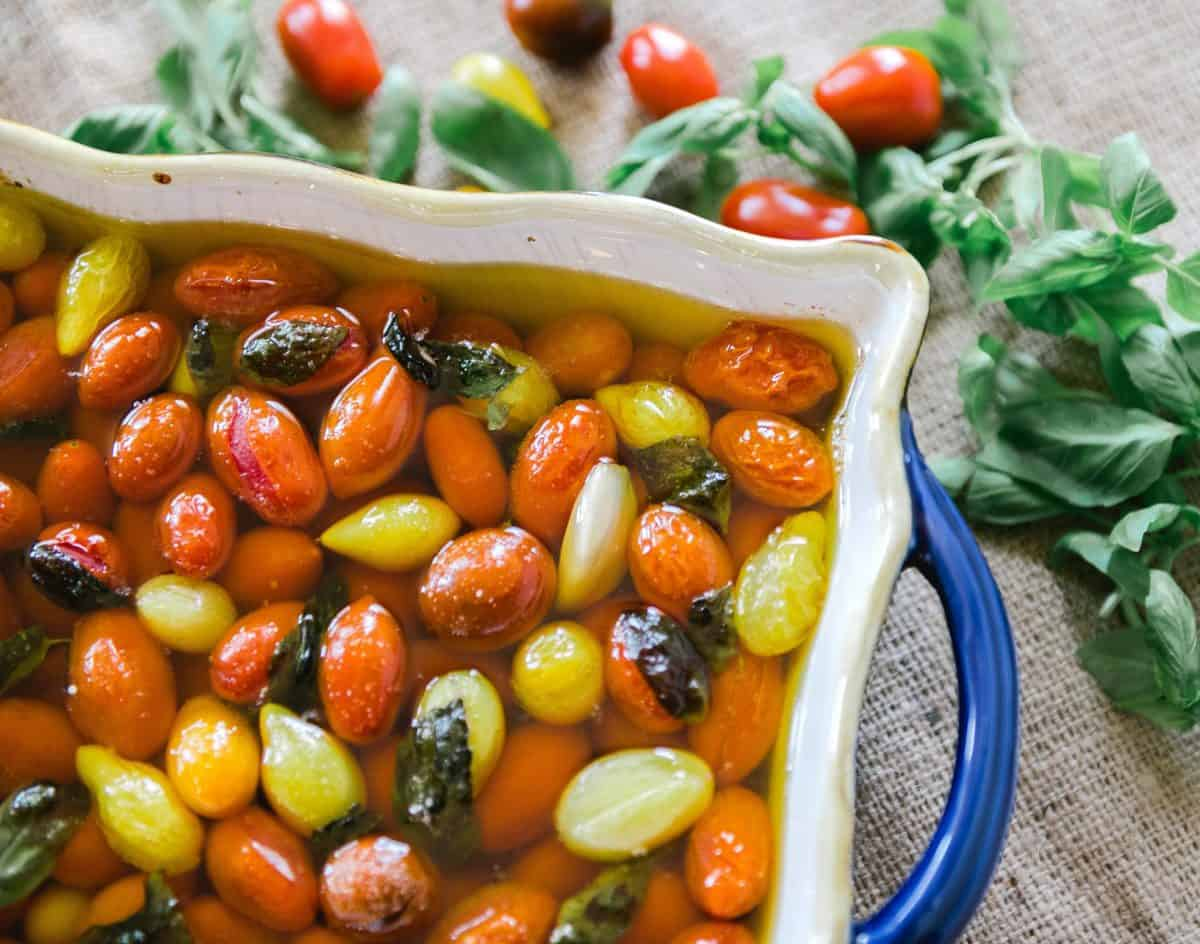 cherry tomatoes marinated in olive oil and herbs