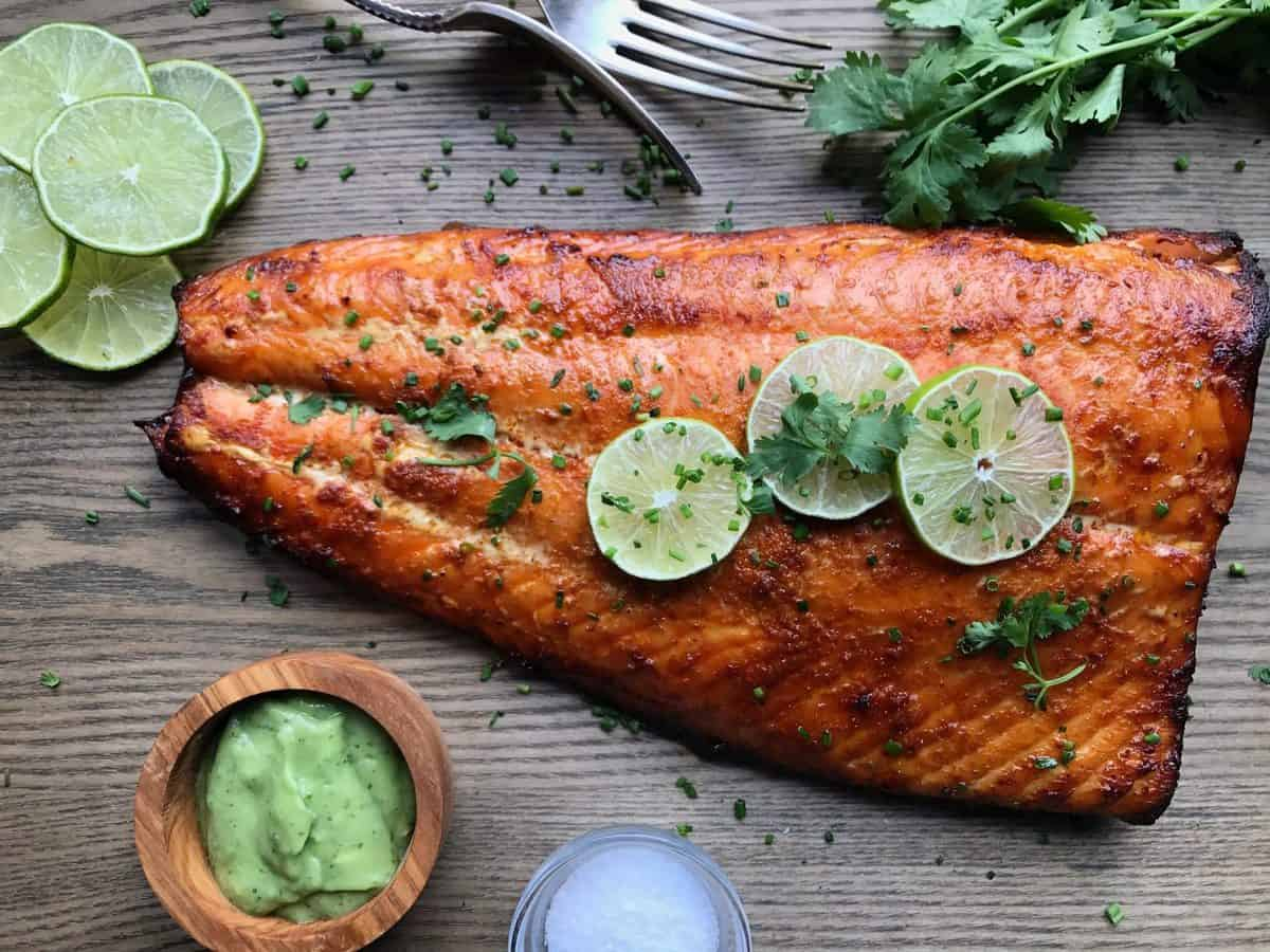 Red Curry Salmon with Avocado Crema