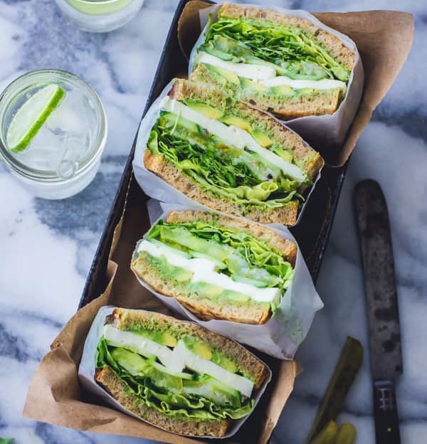 Green Goddess Sandwich with California grown leafy greens