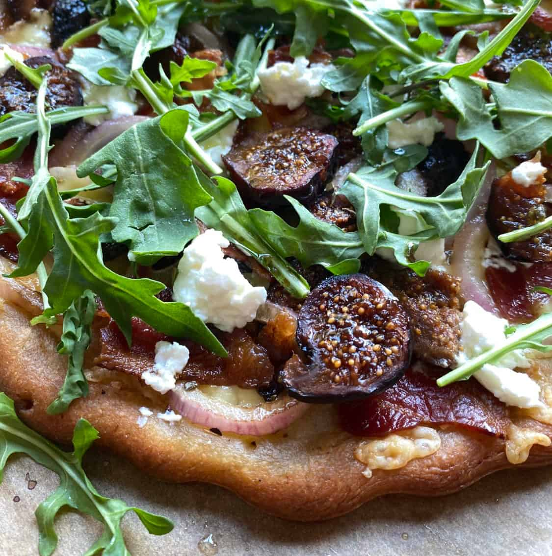 Homemade Pizza with Figs and Arugula