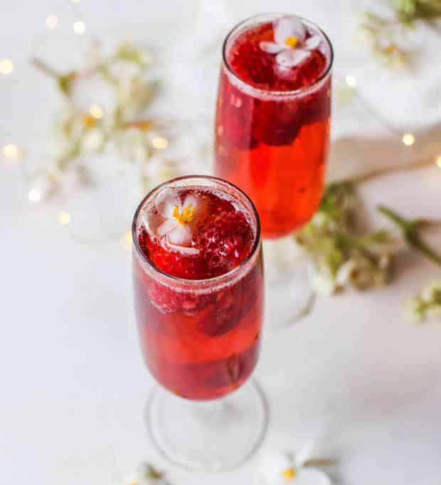 Raspberry Port Sparkler wine based cocktail