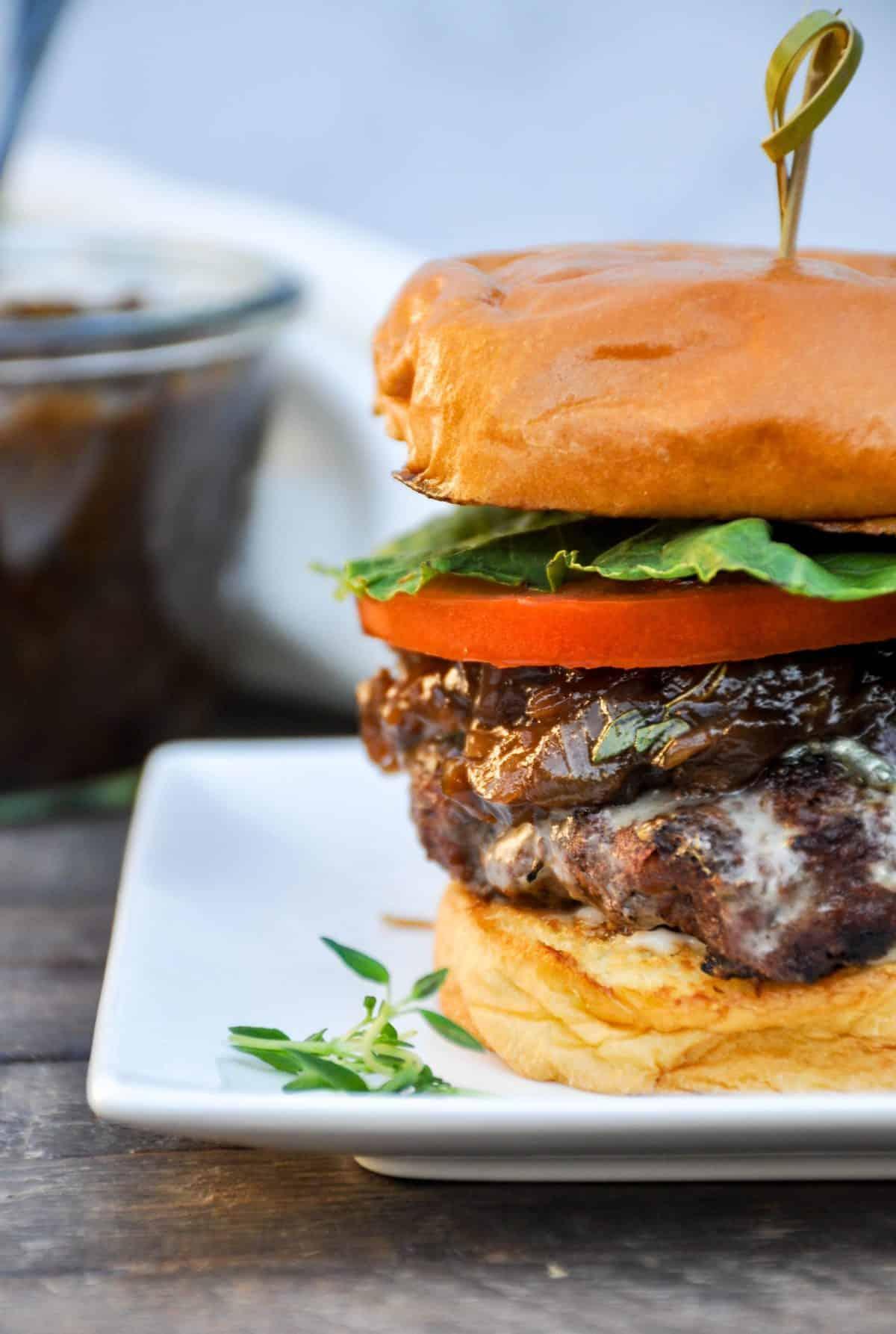 Juicy Burgers with Prune Onion Jam