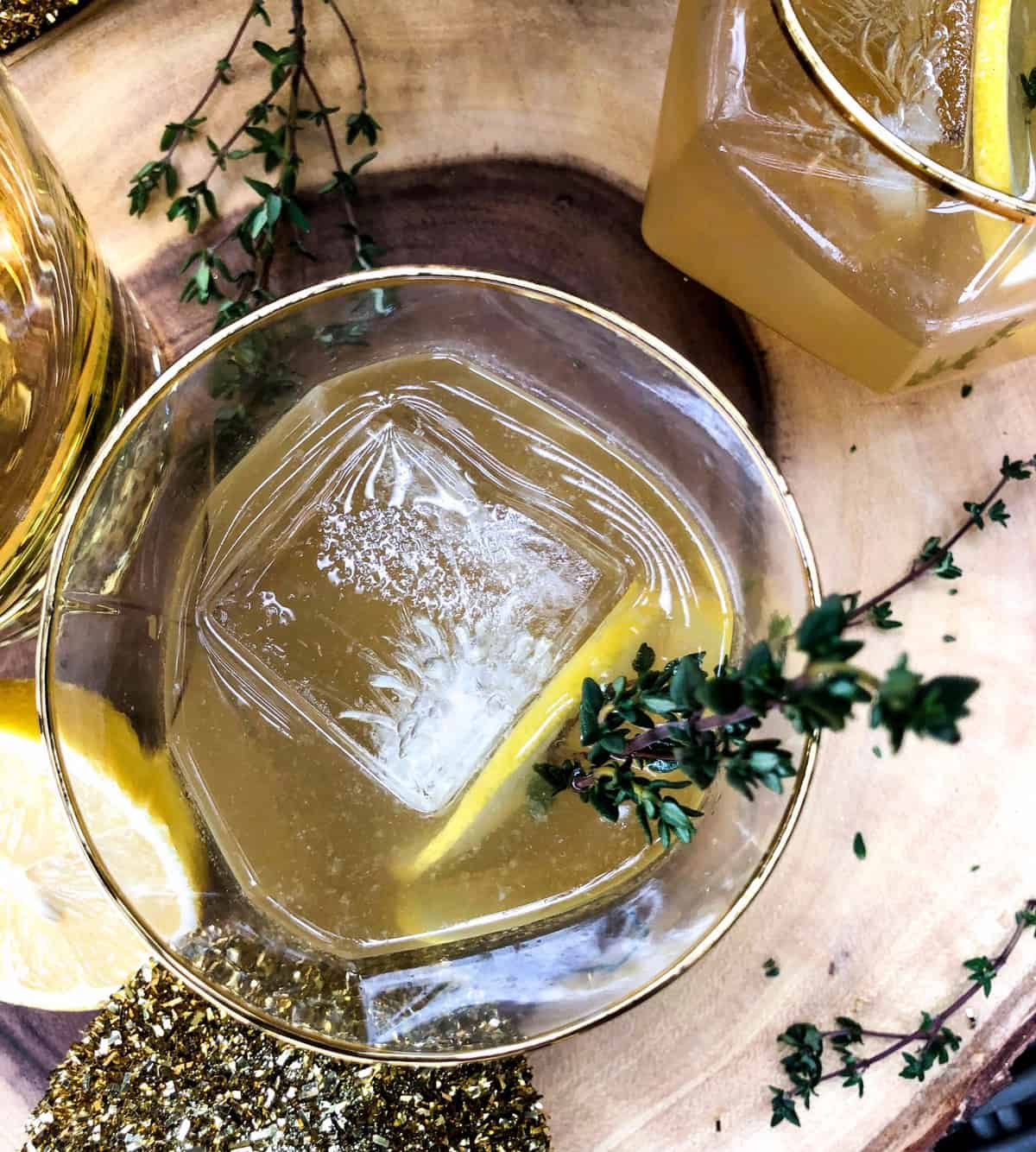 Wine Cocktail With Honey Lemon Thyme