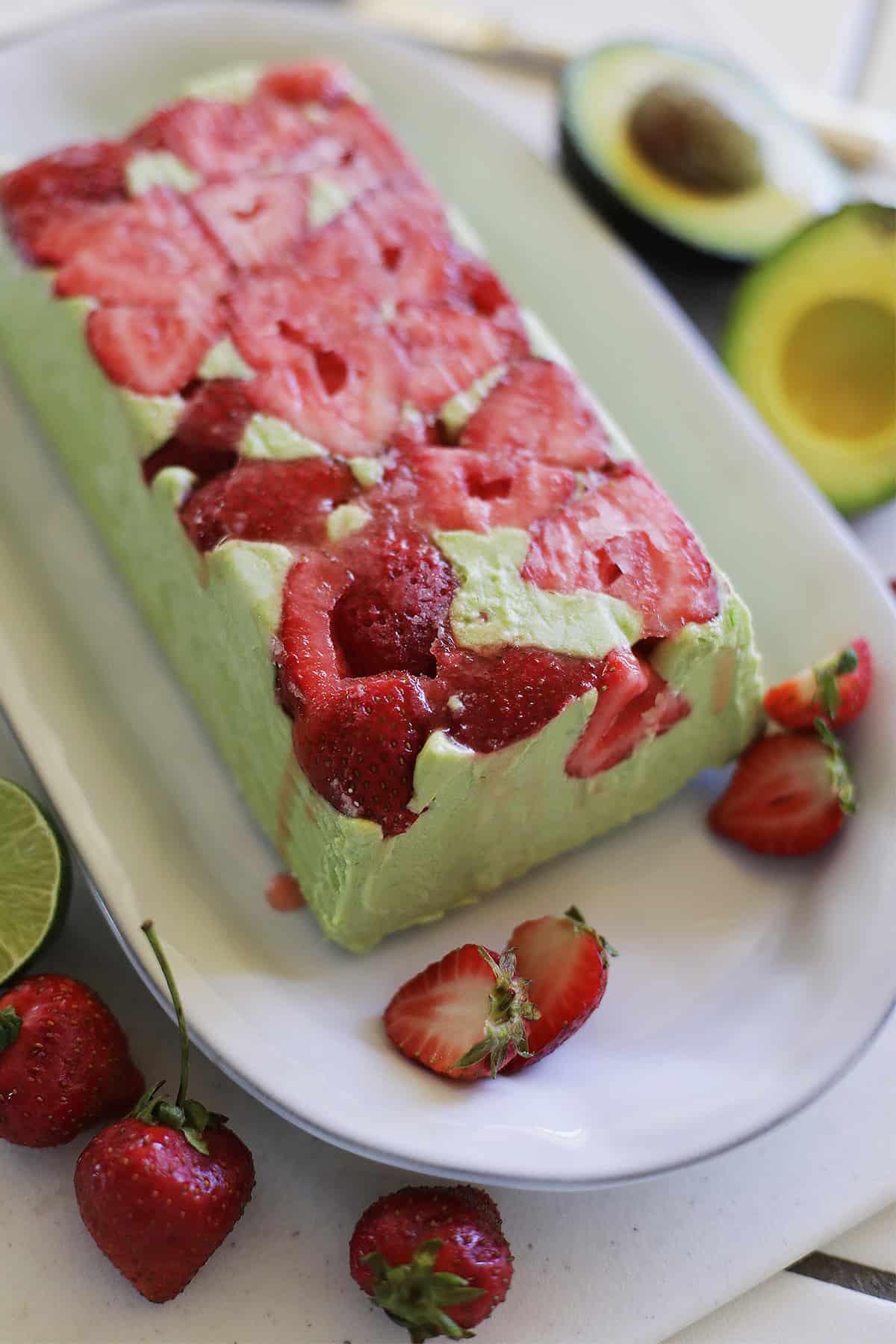 Avocado Coconut Strawberry Semifreddo recipe