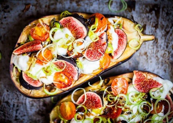 Baked Eggplant with Figs and Leeks
