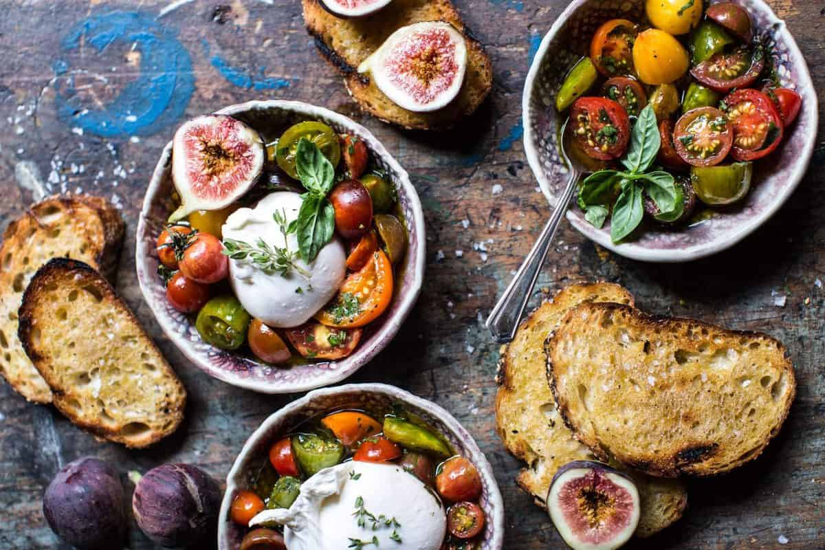 marinated tomatoes with burrata cheese