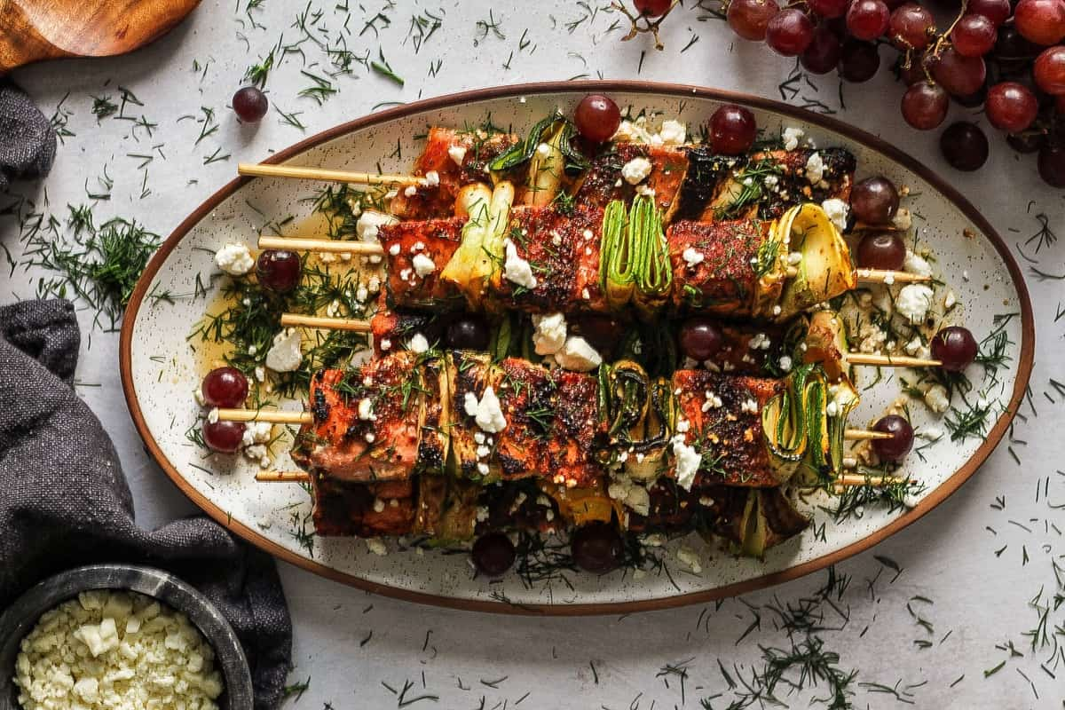 Honey Salmon Skewers with Zucchini and Grapes