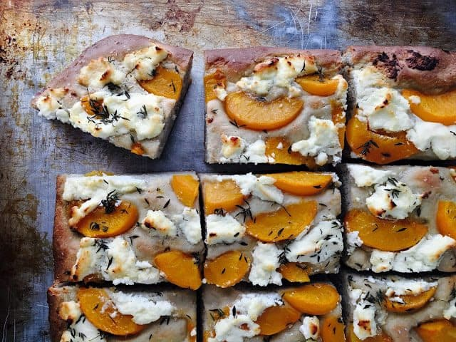Roasted Peach and Ricotta Focaccia dessert using cling peaches