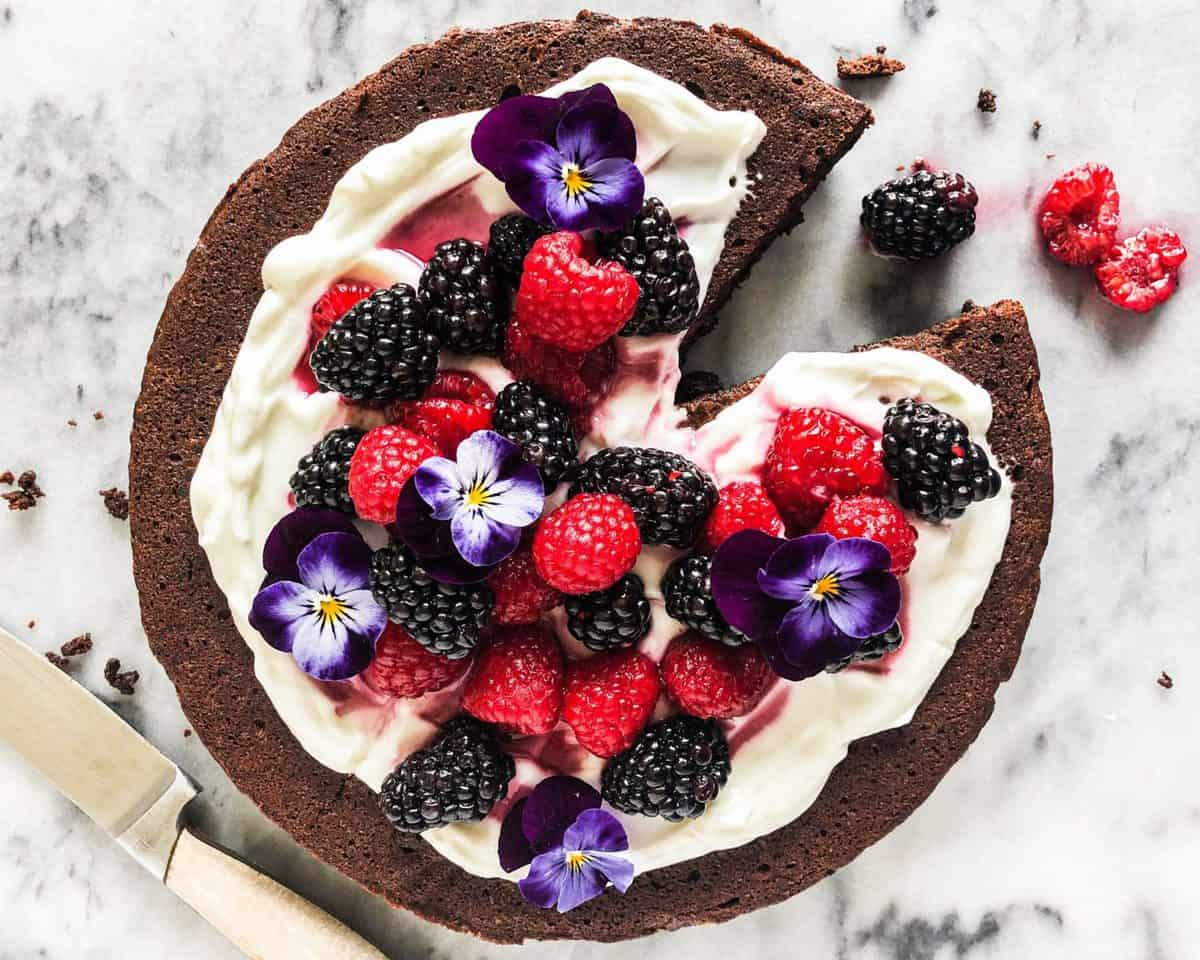 Chocolate Olive Oil Prune Cake