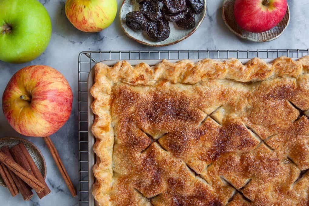 Apple Prune Slab Pie
