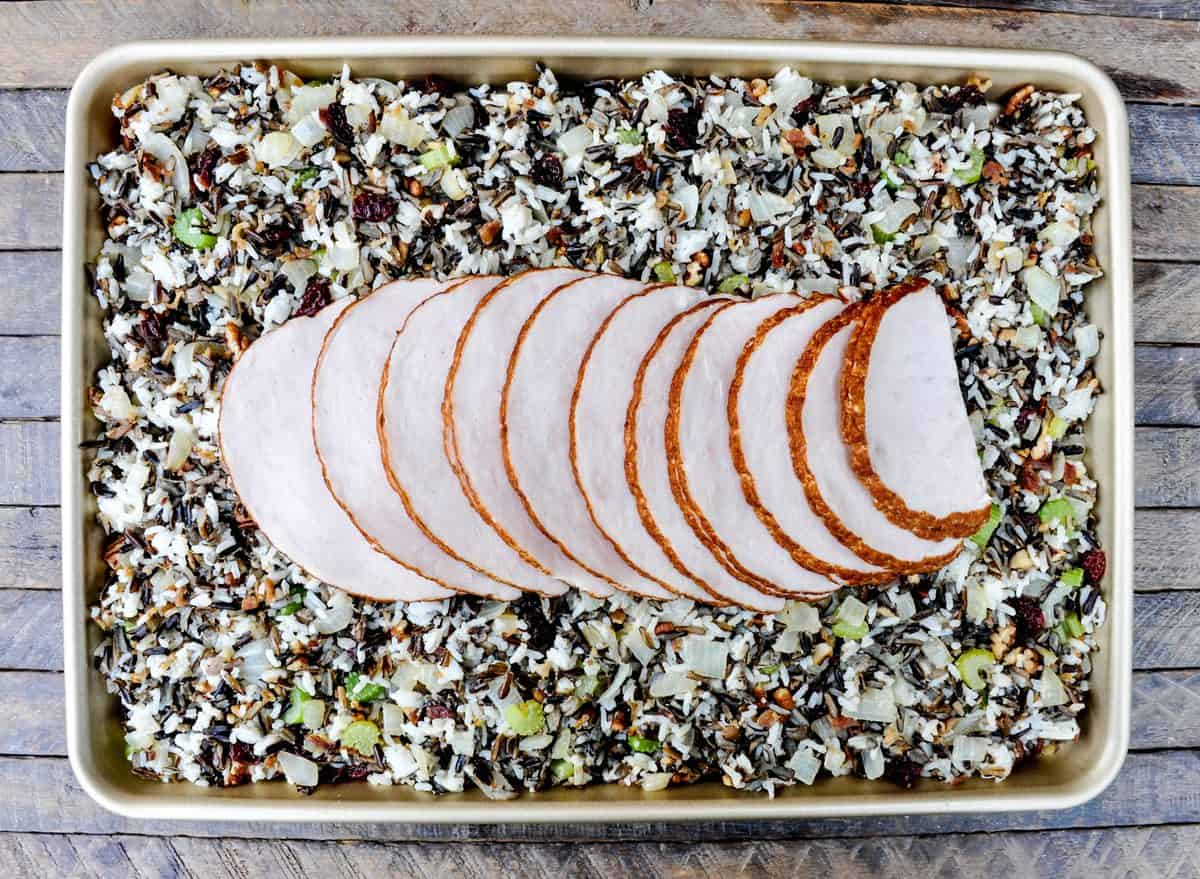 Wild rice stuffing sheet pan