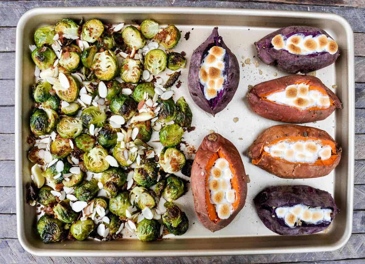 sheet pan brussels sprouts and sweet potatoes