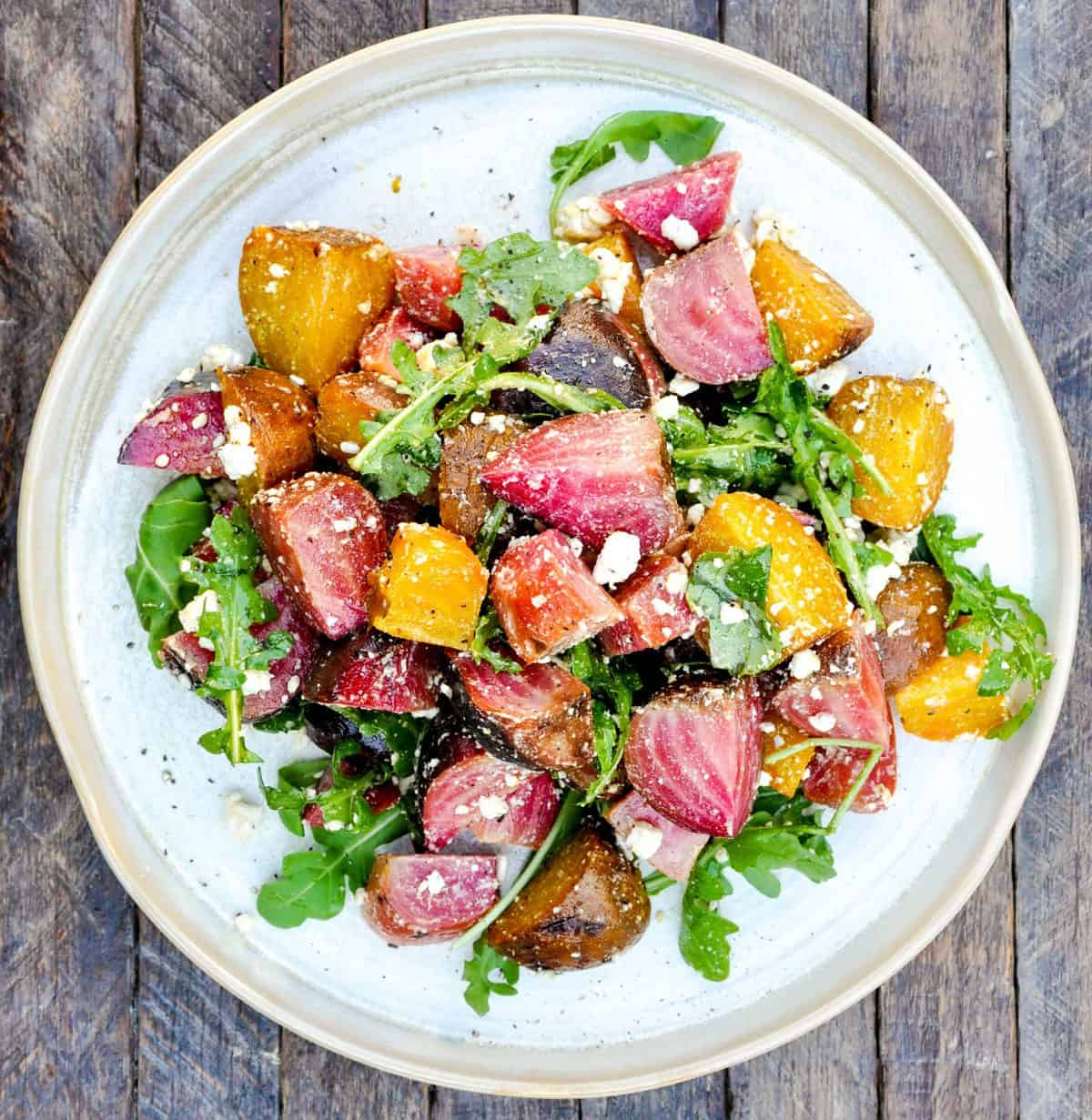 Roasted Beet Salad with Arugula and Olive Oil Dressing