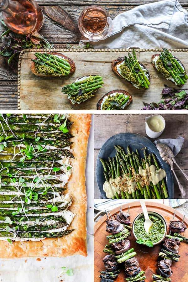 A collage of asparagus recipe images that show the best ways to cook asparagus.