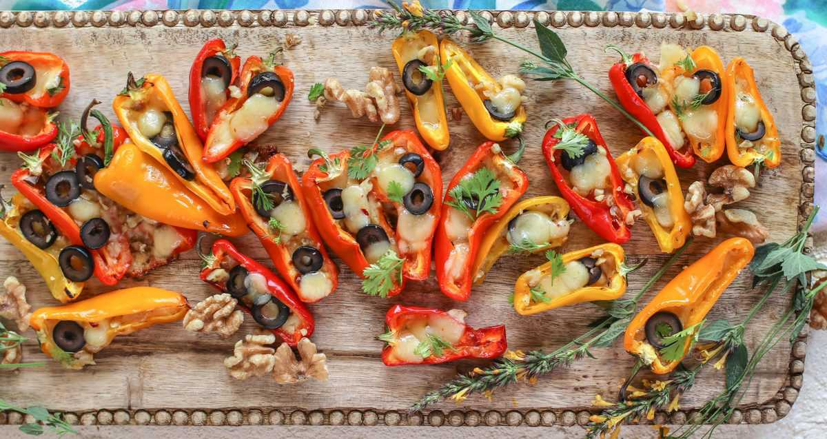 Mini Stuffed Peppers Recipe with Olives and Pepper Jack Cheese