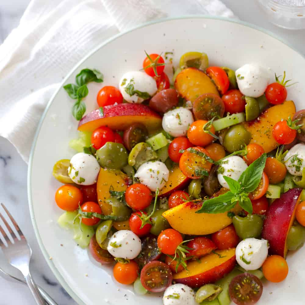 cherry nectarine & mozzarella salad