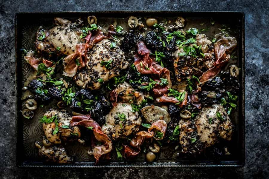 Sheet Pan Chicken Marbella