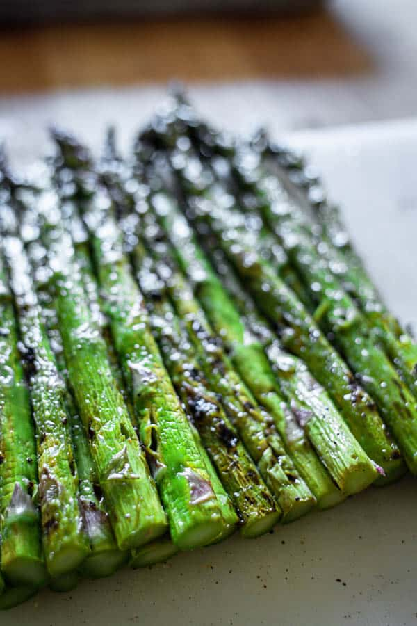 Grilled asparagus with the tough woody stems removed.