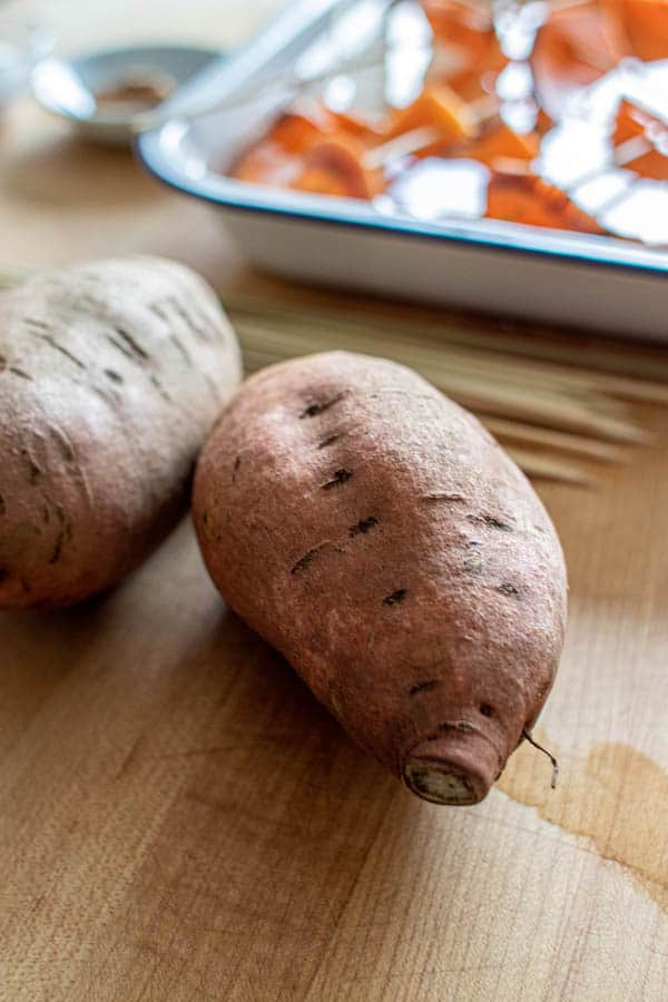 The appropriate sized sweet potatoes for making Hasselback Sweet Potato Skewers.