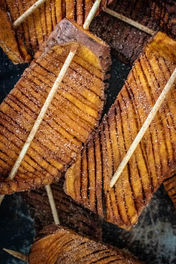 Cooked and seasoned Hasselback Sweet Potato Skewers
