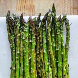 Grilled asparagus ready to serve.