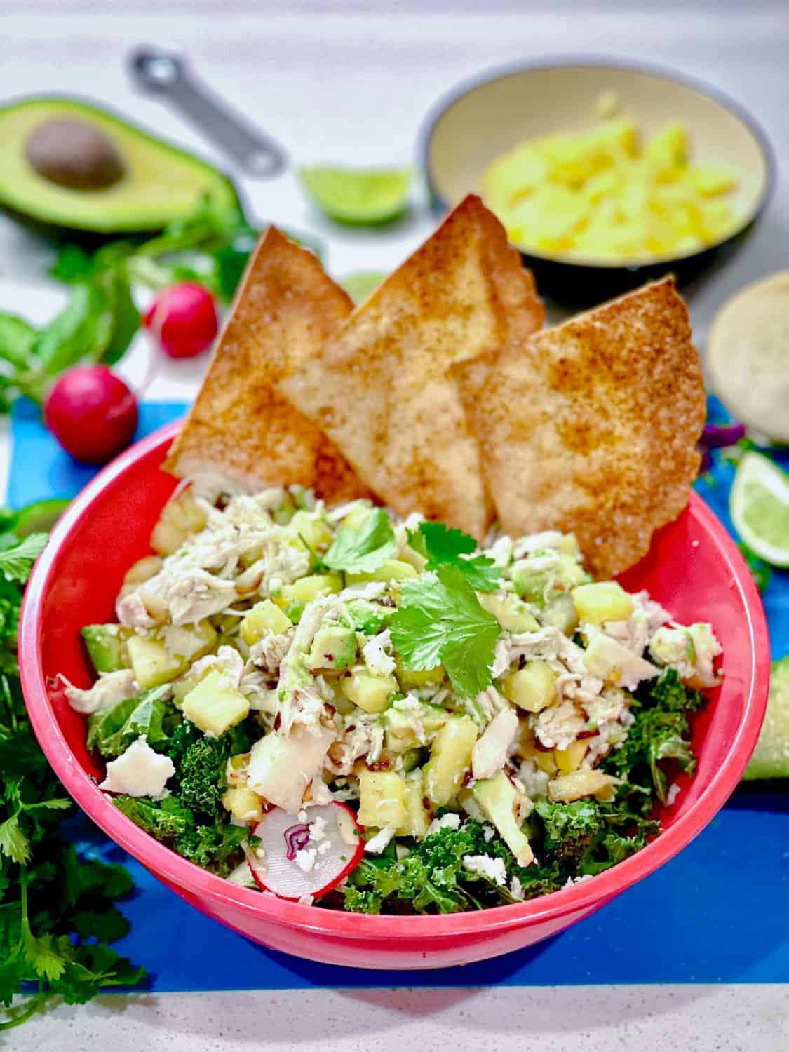 Tropical Chicken Tostada Salad in a bowl garnished with flour tortilla chips