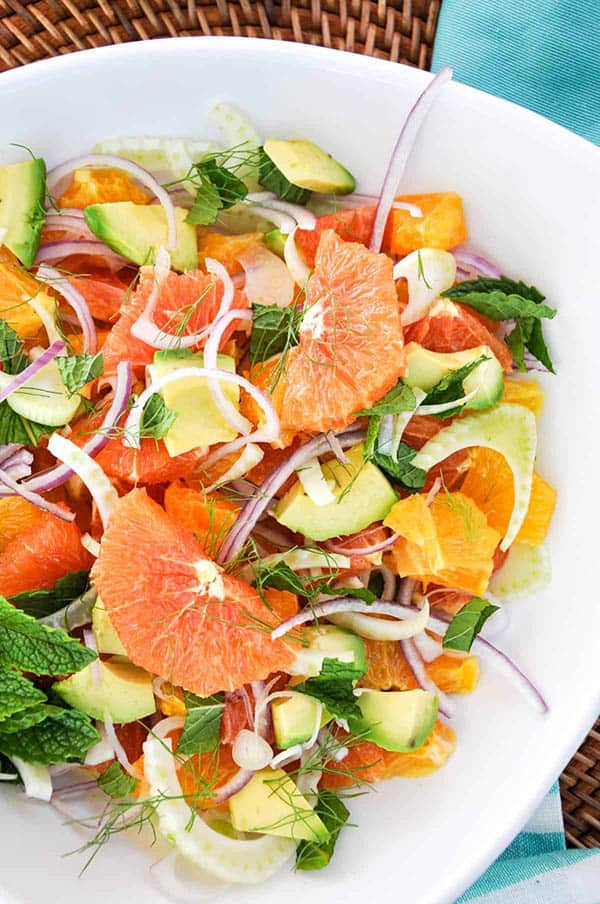 A simple salad of citrus, avocado, red onion, and fennel.