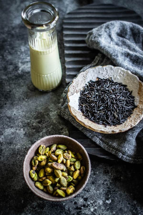 These are the key ingredients needed to make this easy rice pudding recipe from scratch, wild rice and pistachio milk.
