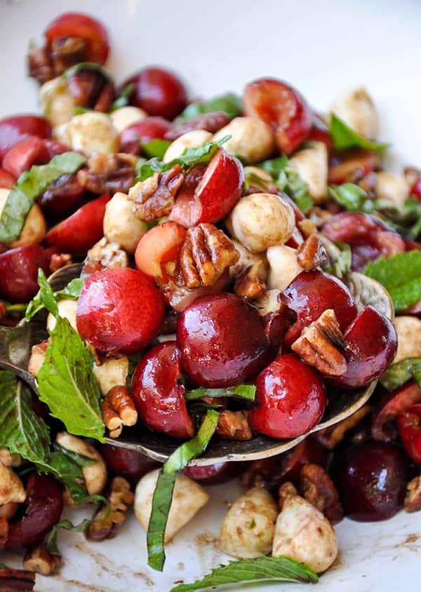 Upclose image of Sweet Cherry Caprese Salad .