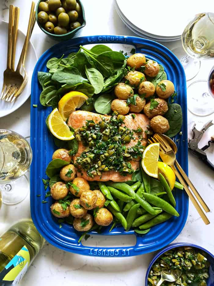 Salmon with Green Olive Salsa Verde