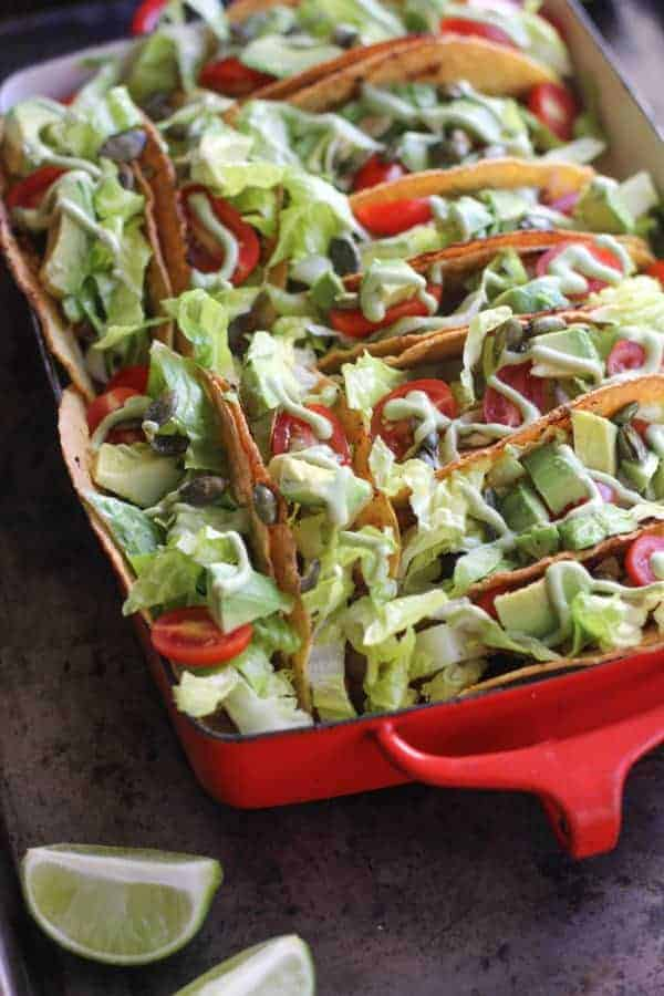 Easy Taco Bake - vegetarian tacos baked together in a large baking dish