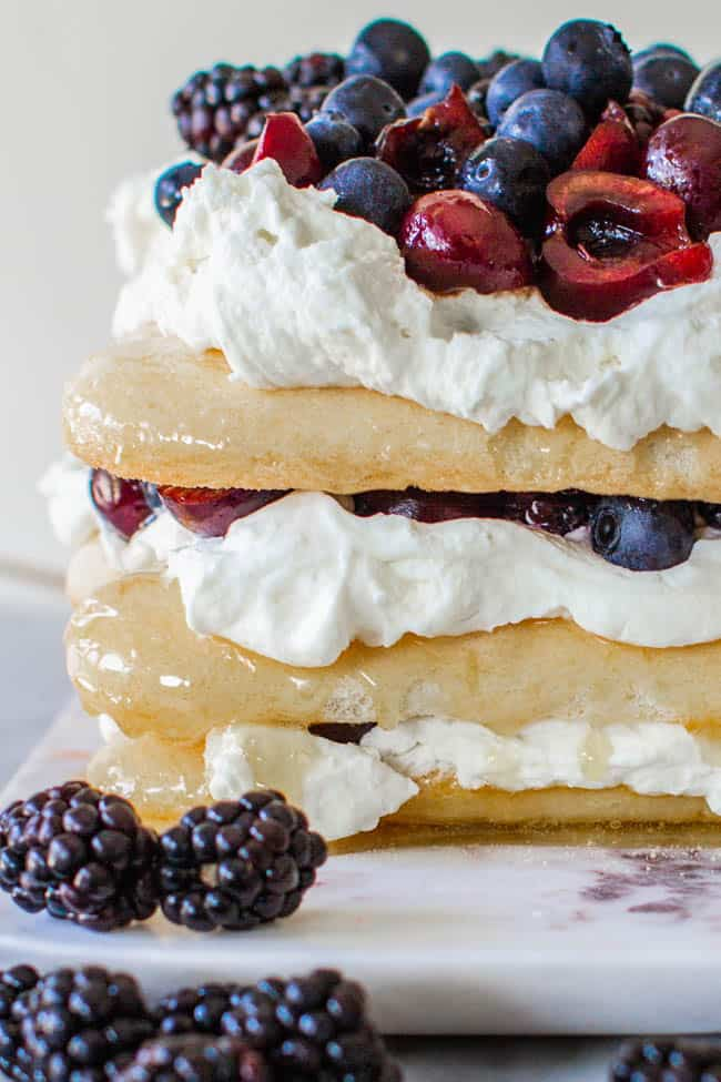 A red, white, and blue dessert cake from the front view. Layers of lady fingers, whipped cream, and fresh fruit.