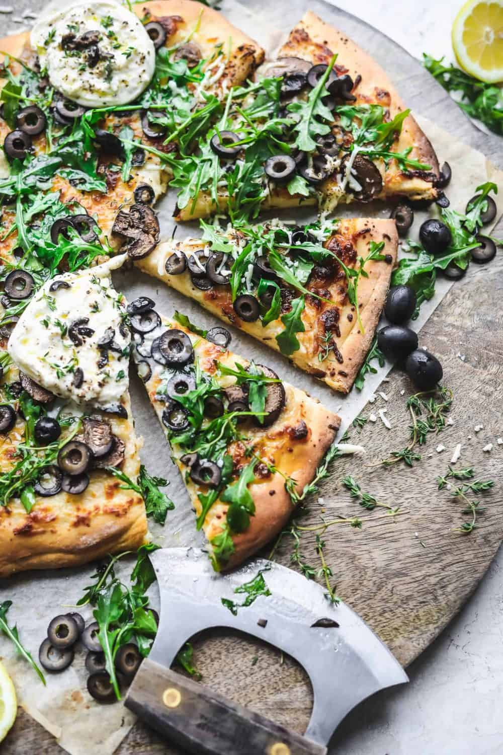 Cheesy Olive Pizza with Mushrooms from Britney Breaks Bread