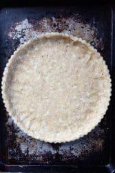 Tart recipe in the pan ready to bake.
