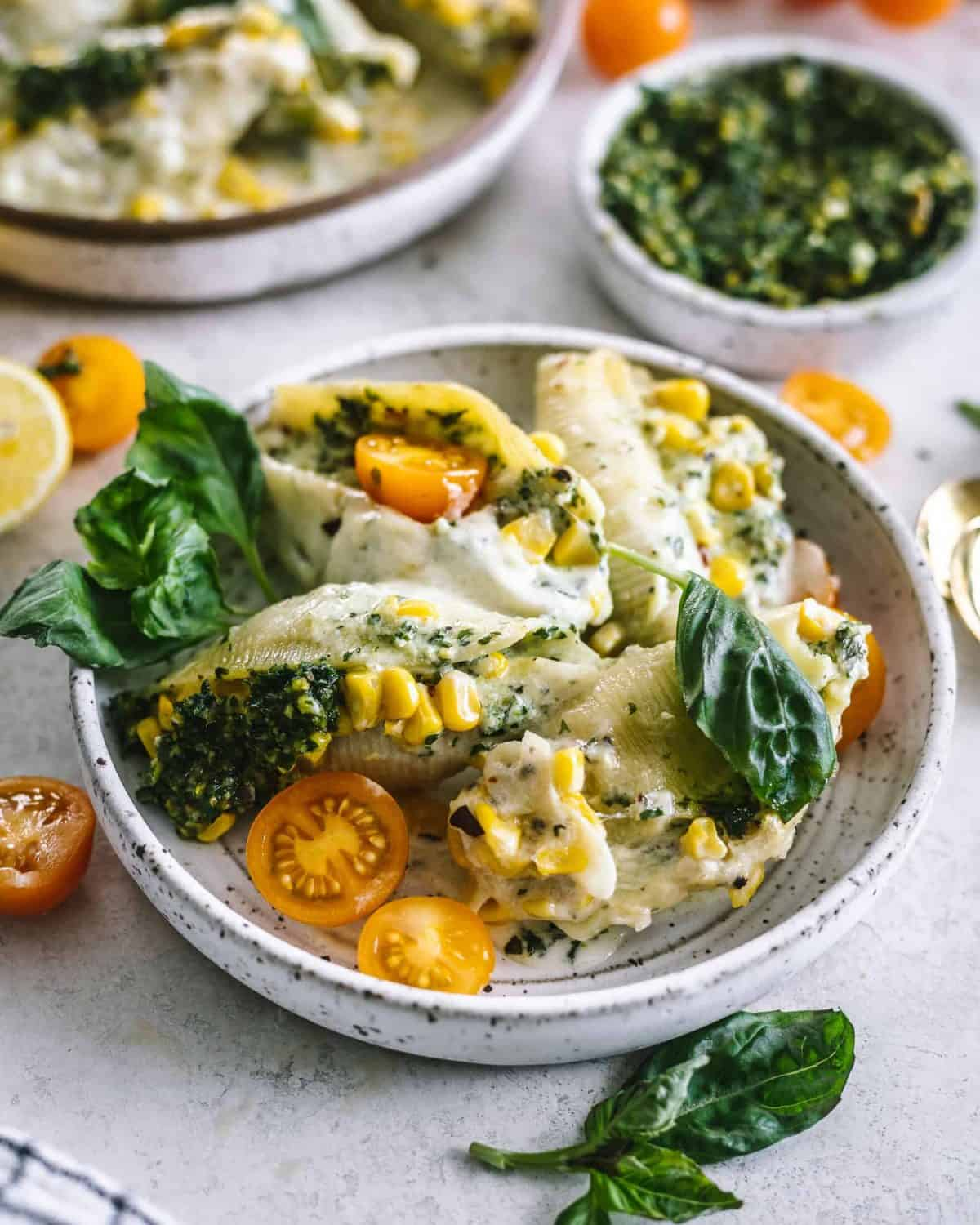 Kale, Pesto and Cheese Stuffed Shells from Britney Breaks Bread