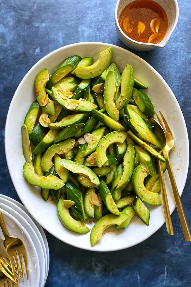 Spicy Cucumber Avocado Salad from The Delicious Life
