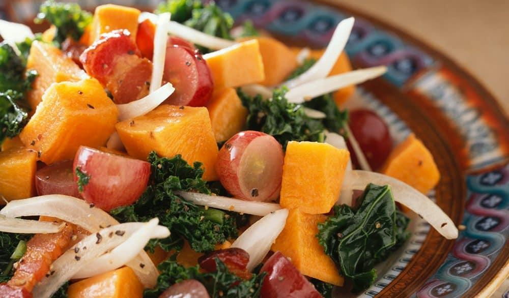 A close up of Sweet Potato, Bacon and Grape Salad
