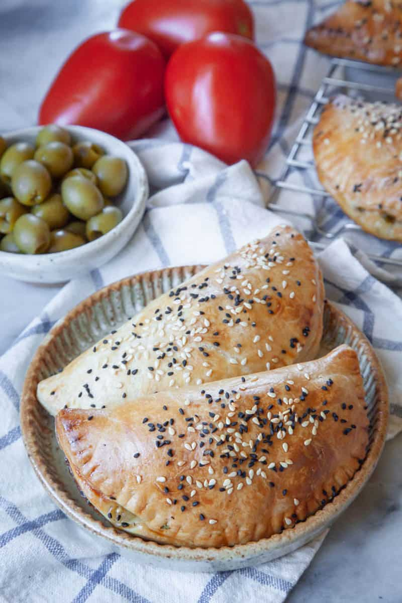 Olive, Tomato, and Onion Hand Pies