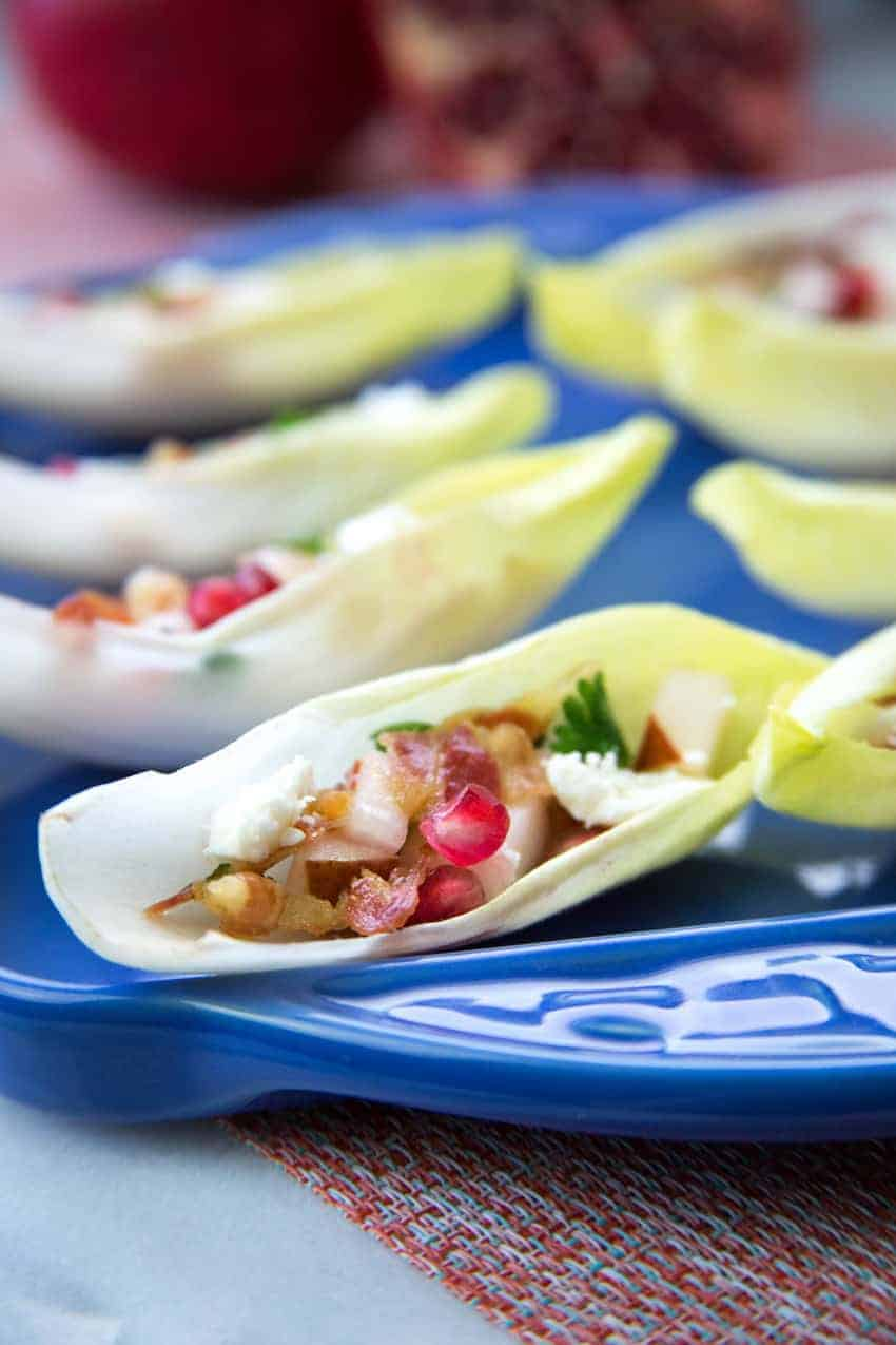 Endive Cups with Pancetta and Pomegranate from G-Free Foodie